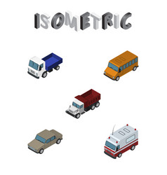 Isometric automobile set of first-aid lorry vector