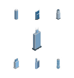 Isometric construction set of tower apartment vector