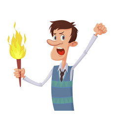 Man with a torch vector