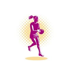 Netball player jumping vector