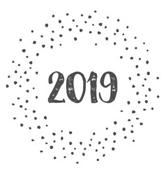 New year 2019 with dots isolated on white vector