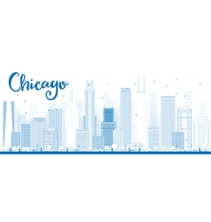 Outline Chicago city skyline vector image