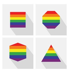Pride flat icon set vector