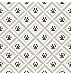 Seamless animal pattern of paw footprint in vector