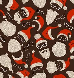 Seamless christmas pattern of santa hats beards vector