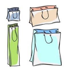 Set of colored paper shopping bags vector image vector image