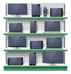 Shelves with Modern Electronic Devices vector image