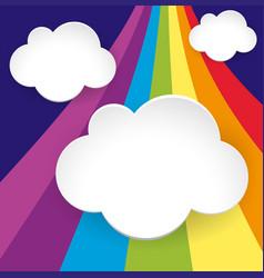 three cloud templates on rainbow background vector image