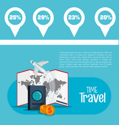 time travel flyer information promotion vacation vector image