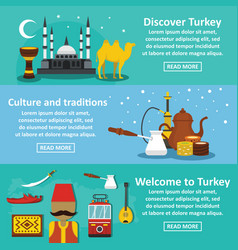 Turkey travel banner horizontal set flat style vector