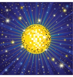 yellow shining disco ball vector image vector image