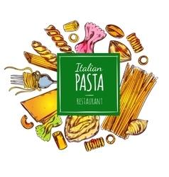 Italian pasta restaurant label vector