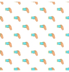 Hand works with smartphone pattern cartoon style vector