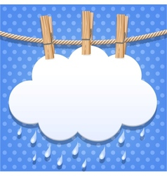 White paper cloud on a clothesline vector