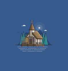 Wooden church on the lake vector