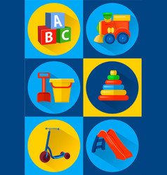 Toys for children icons flat vector