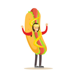 Man wearing hot dog costume fast food snack vector