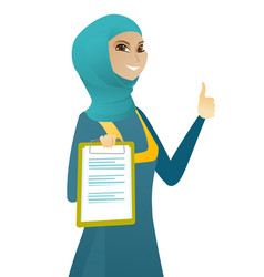 Business woman with clipboard giving thumb up vector