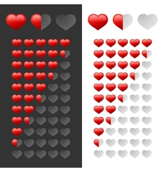 Rating hearts set vector