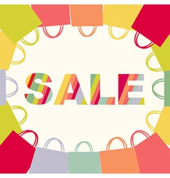 Bright sale poster with bags vector