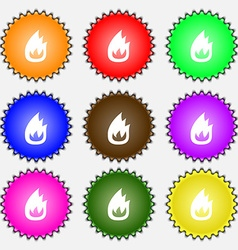 Fire flame icon sign a set of nine different vector