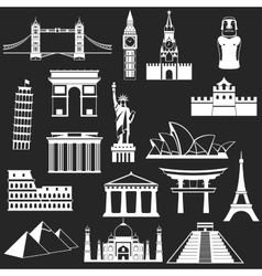 World famous buildings abstract silhouettes vector