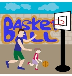 Dad and daughter play basketball vector
