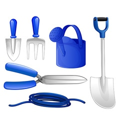Gardening tools and hose vector