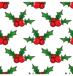 Seamless pattern with holly berries vector