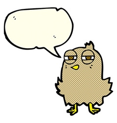 Funny cartoon bird with speech bubble vector