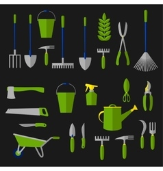 Agriculture and gardening tools flat icons vector