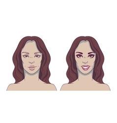 Portrait of a woman before and after with cosmetic vector