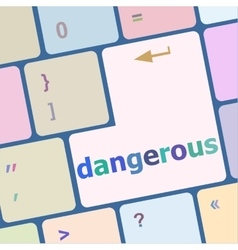 Dangerous word on computer key security concept vector