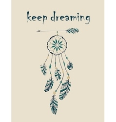 Card with native indian-american dreamcatcher vector