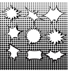 Comic burst speech bubbles set with halftone vector