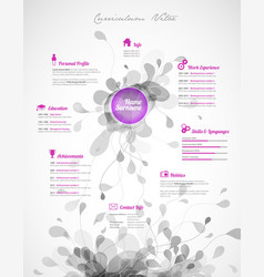 creative purple color cv resume template vector image vector image