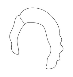 Dark shortback hairstyle single icon in outline vector