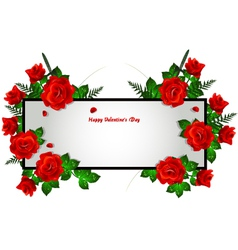 decoration with red rose frame vector image