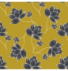 Floral pattern gold and black vector