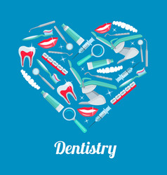 Heart with dentistry icon for dental health design vector