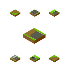 Isometric road set of sand underground upwards vector