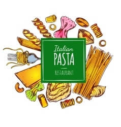 Italian pasta restaurant label vector