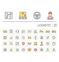 Logistic and distribution color icons vector image vector image