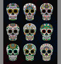 Mexican sugar skulls with floral pattern set day vector