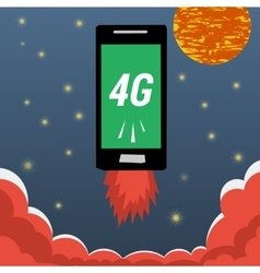 Mobile with 4G internet flying in night sky vector image vector image
