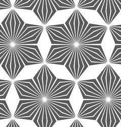 Monochrome striped six pedal rhombus flowers vector