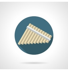 Panpipes round flat color icon vector image