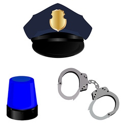 Police hat light and handcuffs vector