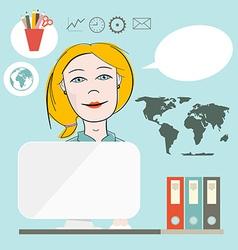 Secretary Flat Design on Blue Background vector image vector image