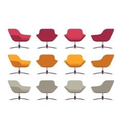 Set of retro armchairs crimson orange and grey vector